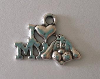 I Love My Dog Charm/Dog Charm/Dog Pendant