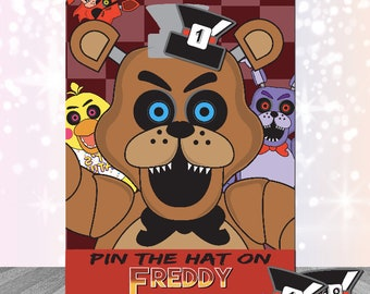 Five Nights at Freddy's Party Supplies Party Game Pin the Hat Fnaf Instant Download Digital Print