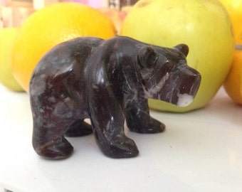 Russian Bear Potap carved from natural heliotrope