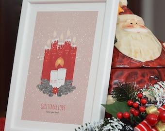 Christmas Print + wooden frame