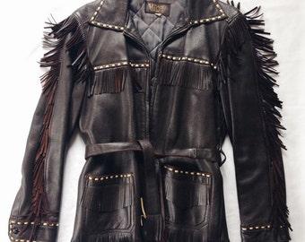 W.B. PLACE & CO. Fringe Jacket -- sz | 36 men's || 6-8 women's | -- > Dark Brown DEERSKIN