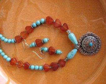 Carnelian FAR EAST Dreams Pendant Necklace Set -Handmade
