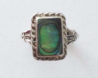 Vintage 1940's Sterling Silver Abalone Shell Ring Rectangular Ornate Green Blue Turquoise Size N
