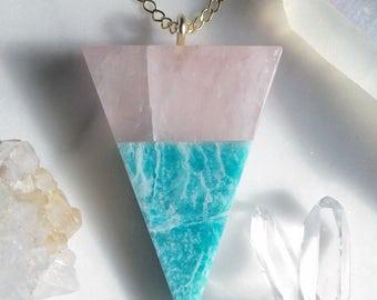 Rose Quartz & Amazonite Triangle Pendant - Gold, Lapidary, Alchemy