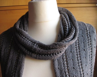 Silk scarf grey silvery beaded shawl scarf silk Bohemian beads grey glass beads