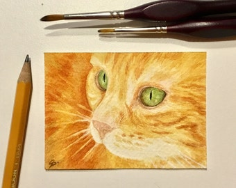 The orange cat - ACEO - ATC - home decor - cat art - ORIGINAL - watercolor - collector's art