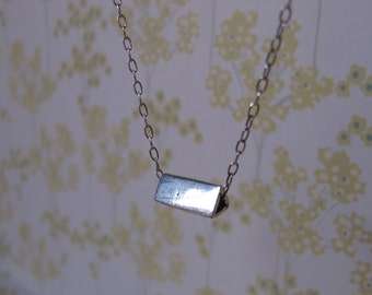 Silver prism necklace - 3D triangle necklace on silver chain - modern design