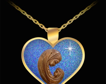 Mother and Child Heart Necklace (available in Gold and Silver)