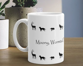 Harry Potter Inspired Moony, Wormtail, Padfoot & Prongs Marauders Handmade Mug