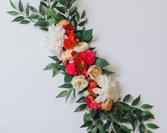 "Ready to Ship: Pink and Red ""Summer Poppy"" Floral Centerpiece - Floral Garland - Floral Party Decor"