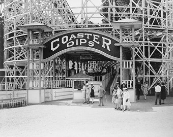 Maryland Amusement Park Photo, Roller Coaster Black White, Photo Print, 1920s, Carnival, Rollercoaster, Wall Art, Home Decor, Wall Decor