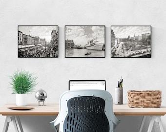 Buffalo NY Street Scenes Photo Collection, Buffalo River, Lafayette Square, Main Street, New York, Black White Photos, Wall Art, Poster Art
