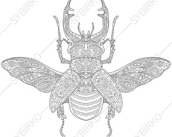 Stag Beetle. 2 Coloring Pages. Animal Coloring Book Pages For Adults.  Instant Download