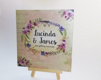 Antique Floral Wedding Invitation, Olde Worlde Wedding Invite, Floral Wedding Invite, Rustic Wedding Invite