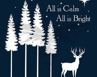 Christmas SVG Cut File | All is Calm, All is Bright svg | Silhouette svg | Cricut svg | Christmas SVG design | Christmas SVG sayings
