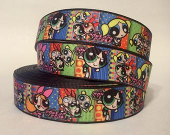 "1/3/5/10 Yards - 1"" Powerpuff Girls Grosgrain Ribbon Nostalgic DIY 90s Kid"