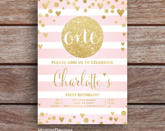 First Birthday Invitation Girl, Baby Girl, 1st Birthday Girls Invitations, Gold Glitter Pink, Watercolor, Printable, Confetti,Stripes Hearts