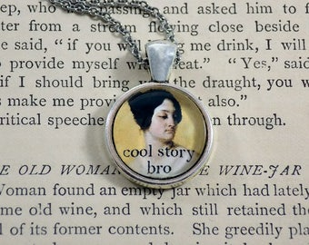 """Pendant Necklace """"Cool Story Bro"""" Meme Jewelry, Meme Gifts, Dank Memes, Funny Gifts, Internet Gifts, Birthday Gift, Vintage, Cool Story Meme"""