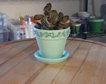 Terra Cotta Pot//Vintage Ribbon//Planter with Saucer//Indoor Plant Pot//Aqua