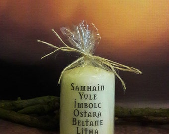 Wicca ~ Wiccan ~ Witch~ Pagan ~ Celtic Calendar Candle wrapped with twine