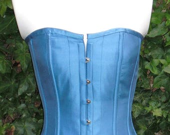 Cornflower Silk Corset, Silk Overbust Boned, Front Busks and Ribbon Lacing at the Back