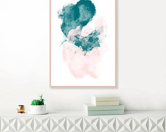 Abstract Art, Pink and Teal Painting, Minimalist Painting, Printable Nursery Art, Original Wall Art, Affordable Art