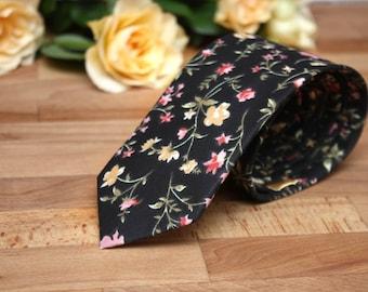 Brown and Yellow Floral Mens Tie Men's skinny tie Wedding Ties Necktie for Men