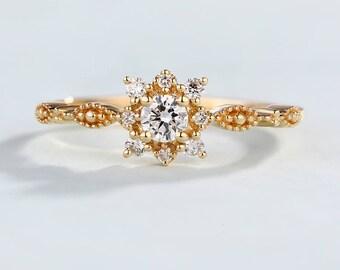 Vintage Engagement Ring Art Deco Antique engagement ring Anniversary ring 14K gold Diamond Ring Cluster Flower Promise gift Bridal Milgrain