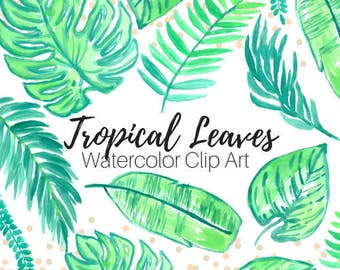 Tropical Leaves Clip Art - Tropical Clip Art - Island clip art - Floral clip art - Watercolor clip art - Commercial Use