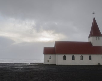 Art photography landscape in iceland, church in Vík in winter