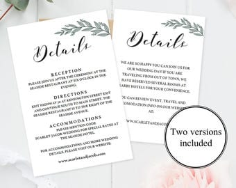 Wedding details template wedding information card rustic editable wedding details card template rustic wedding information card wedding enclosure cards wedding printables wedding details stopboris Choice Image