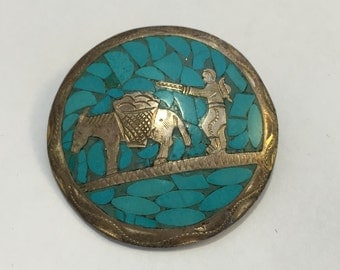 Vintage Siam Sterling Turquoise Brooch/Pendant