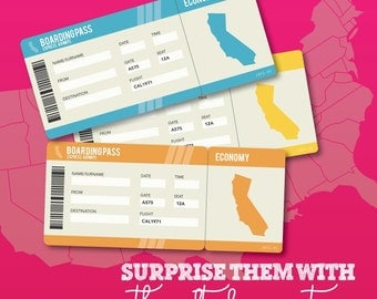 Printable Set of PDF Surprise Ticket for a California Vacation