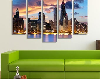 Chicago Canvas, Chicago Print, Chicago Photography, Chicago Wall Art, Chicago Wall Décor, Chicago Skyline Wall Art, Chicago Skyline Canvas