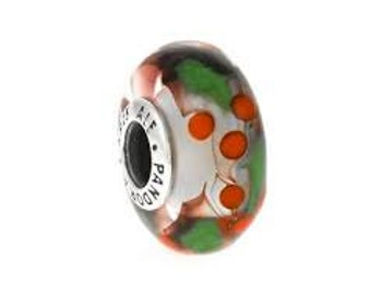 Pandora Charms Authentic Christmas Holly Murano Glass Bead Charm