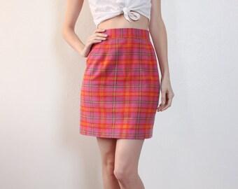 Plaid Mini Skirt // Vintage 70s High Waist Wool Schoolgirl Pencil - Extra Small xs