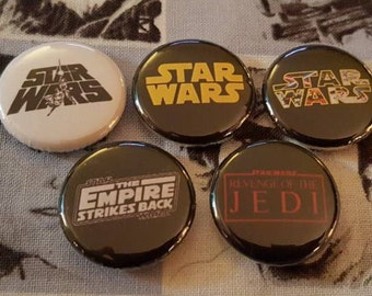 Star wars buttons! Set of 5 pinback buttons badges pins featuring different Star Wars logos. Empire Strikes Back, Return of the Jedi! pin