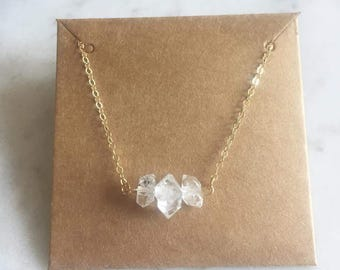 Herkimer Diamond necklace - Herkimer Diamond bar necklace - Herkimer Necklace - Gift for her - Clear quartz necklace - Bridesmaid - Boho