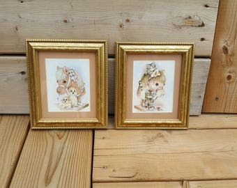 Pair of Vintage Prints In Wood Frames Cat Dog and Stick Horse Watercolor Baby Nursery Wall Art Hanging Puppies Kittens Rustic Decor Country