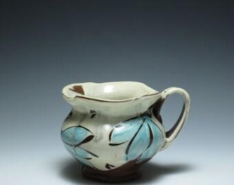Blue Floral Petal Mug, Dinnerware, Red Earthenware Clay, Handmade Pottery Mug, Coffee Cup, Coffee Mug, Mug, Coffee Lover