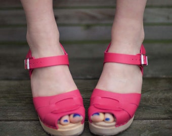 Vegan Shoes swedish Clogs Peep Toe Pink by Lotta from Stockholm / Wooden Shoes / High Heel / Swedish Wedding / Made in Sweden / Bridal Shoes