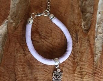 Violet purple kids bracelet charm owl