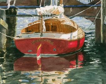 Red Sailboat Print of Original Watercolor Painting, Nantucket, Harbor, old boat, dock, beach house, reflections, marina, water, Edie Fagan