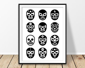Printable poster, Digital download, Lucha Libre masks, Luchador mask print, Mexican wrestling, Mexico wall art, For him, Black and white