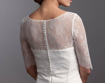 Simple bridal lace topper, Bridal lace bolero, 3/4 sleeve wedding bolero, Bridal lace jacket made of French lace