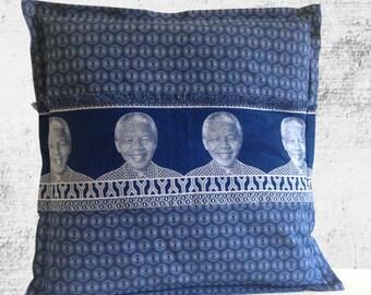 Mandela Shweshwe Cushion Cover – Middle Strip