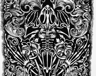 Bonefrog Linocut Print
