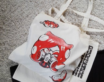 Splatoon Angry Octoling tote bag with gasmask takoyaki and tenctacle skewer