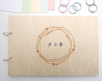 Memory album wedding wood circle can be customized