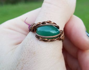 Copper wrapped jade ring, size 11